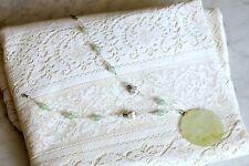 "Pierced Jade Pendant 2&1/8"" Diameter, Owls, Porcelain and Jade Beads NICE!"