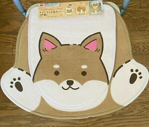 Cute Japanese Dog Puppy Shiba Inu Bathroom Toilet Cover and Mat