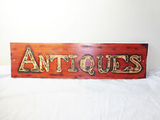 "CUSTOM HANDMADE WOOD ANTIQUE STORE / SHOP ADVERTISING SIGN - 27.5"" X 7"""