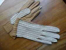 vintage gants cuir et tricot  7 1/4 peau fabrication française  NOS gloves