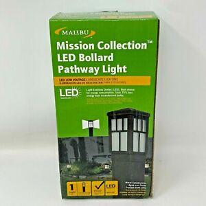 New Malibu Mission Collection LED Bollard Pathway Light Aged Iron Finish Frosted
