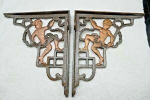 "Vintage Pair heavy Iron Cherub Shelf Brackets 9""X10"" Very Old Stock Unused 1980s"