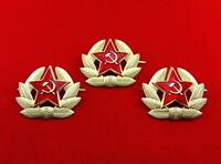 Soviet Military Russian Army USSR Red Star Pin Badge 3 Pieces