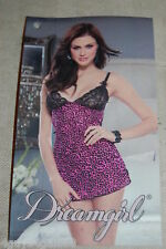 Womens Lingerie SHEER PINK BLACK LEOPARD GOWN Thong Panty DREAMGIRL Sz M 8-10