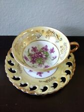 Royal Sealy Japan Tea Cup & Saucer Yellow W/ Purple Geraniums  Footed Exc. Cond