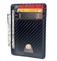 Mens Leather Slim Wallet RFID Blocking Minimalist ID Holder Credit Card Wallet