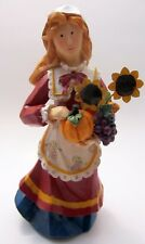 Autumn Harvest Woman w/Sunflowers Thanksgiving - Resin