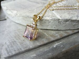 Gold Plated Sterling Silver Lavender Amethyst ? Pendant Necklace