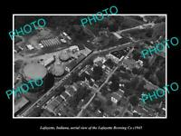 OLD POSTCARD SIZE PHOTO OF LAFAYETTE INDIANA AERIAL VIEW OF THE BREWERY c1945