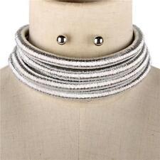 """14.50"""" silver 4 layer coil choker collar metallic necklace multi strand balmain"""