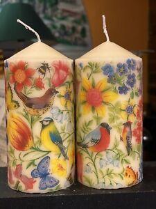 BIRDS,BEES,BUTTERFLIES & FLOWERS  HAND DECOR PILLAR CANDLE VANILLA Set Of 2