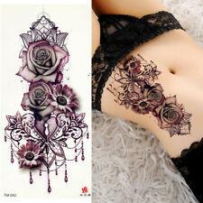 Newly Rose Flower Temporary Fake Tattoo Women Sexy Body Painting Tatoo Sticker