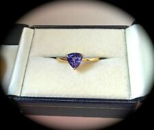 1.04CT TANZANITE RING 9K Y GOLD SIZE Q  'CERTIFIED AA' EXQUISITE COLOUR! BNWT