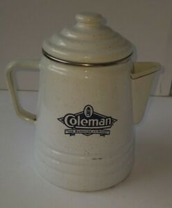 """Vintage White enamel 8"""" Coleman Sunshine Of The Night Coffee Pot cabin camping"""