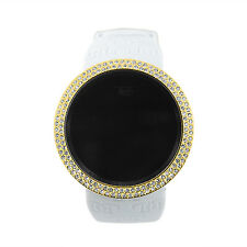 Gold on White Digital Touch Screen Sports Smart Watch with Rubber Silicone Band