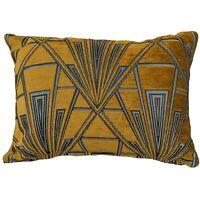 Art Deco Geometric Boudoir Rectangle Cushion. Velvet Chenille. Gold & Silver.