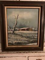 Everett Woodson Oil Painting on Board Barn On the Ornate Wood Frame vtg USA