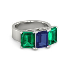 3.00Ct Sapphire/Emerald 14K White Gold Womens Engagement Ring Size 4 5 6 7 8