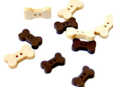 30 Holzknöpfe Hunde-Knochen Form in Natur/Braun ca. 1,5-1,8cm Knopf/Baby/Kinder