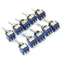 10pcs  6A 125VAC 6-Pin DPDT ON-ON Mini Toggle Switch Switches New