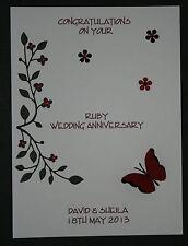 HANDMADE PERSONALISED RUBY WEDDING 40th ANNIVERSARY CARD
