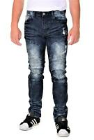 Smoke Rise Mens Slim Straight Fit Distressed Moto Denim Jean
