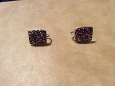 VINTAGE STERLING SILVER CONTESSINA TOWLE 1965 FLOWER SCREW EARRINGS V23