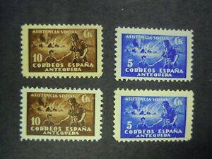 SPANISH CIVIL WAR - ANTEQUERA. SOCIAL ASSISTANCE CHARITY STAMPS X 4