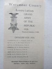 1927 WORCESTER COUNTY (Massachusetts) List of GAR Posts & Officers, Civil War