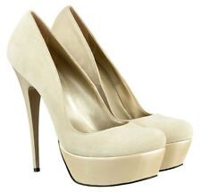 MORI ITALY PLATFORM SEXY NEW HIGH HEELS PUMPS SCHUHE SHOES LEATHER BEIGE NUDE 42