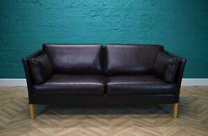 Mid Century Retro Danish 2.5 Seat Sofa in Dark Brown Leather by Erik Jorgensen