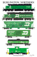 "Burlington Northern Freight Train 11""x17"" Poster Andy Fletcher signed"
