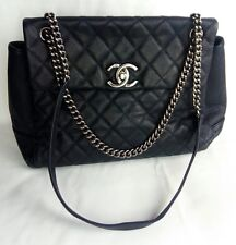 100% Authentic CHANEL MAXI Caviar Leather Flap Bag Dark Blue Cross-body MINT