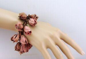 Vintage Celluloid Pink Flower Tulip Rose Bud Dangle Link Bracelet Jewelry