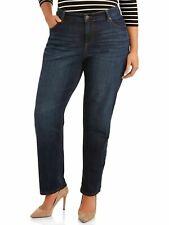 Terra e cielo WOMEN'S 22W repreve Jeans Gamba Dritta con controllo della pancia Medium Wash