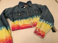 Blank NYC Ombre Rainbow Crop Denim Jean Blow the Bag Jacket NWT Small MSRP $158