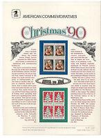 #2514-5 25c Christmas 1990 USPS #358 Commemorative Stamp Panel