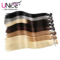 "UNice 100S Stick I Tip Straight 100% Remy Human Hair Extensions 18""20""22""24"" 50g"
