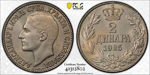 YUGOSLAVIA - SERBIA , 2 DINARA 1925 ALEXANDER I PCGS MS 64 ( ST11 )  , RARE
