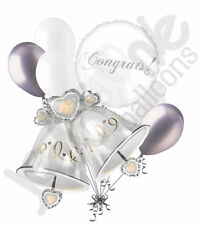 7 pc Silver & Gold Wedding Bells Balloon Bouquet Party Decoration Bridal Shower