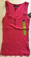 Ladies Summer Vest Top in Pink, with Lace insert in neckline