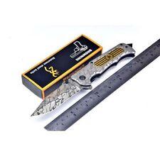 Couteau BROWNING Massif Style DAMAS Lame Acier 9 cm Manche Acier 12,5 cm Outdoor