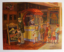 Lee Dubin Hand Signed Art Lithograph SATURDAY MATINEE AT THE MOVIE THEATRE 1937