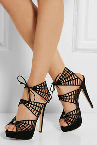 Charlotte Olympia Caught In Charlotte'S Web Suede Open Toe Heel Pump Shoe 35-