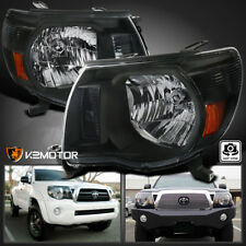 For 2005-2011 Toyota Tacoma Crystal Headlights JDM Black Left+Right