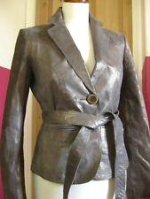 Ladies WHISTLES silver leather tie waist JACKET BLAZER size UK 10 8 belt fitted