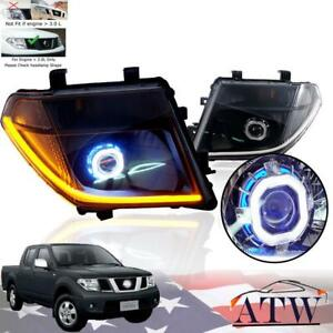 For 05-08 Nissan Navara Frontier Smoke Black Head Lamp Led Drl Hid Projector