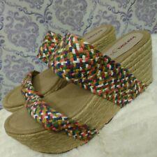 Kensie Girl Maylou Platform Wedge Sandals Womens 9.5 Vegan Boho Woven Espadrille
