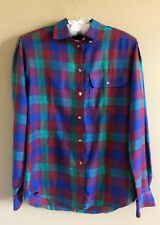 90's Vintage Purple Green Plaid Long Sleeve Button Down Liz Claiborne 6 Blouse