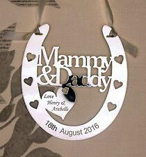 Personalised MAMMY & DADDY Lucky Wedding Horseshoe  ***FREE GIFT BAG***
